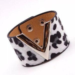 Vegan Leather Wide Cuff Bracelet Animal Print